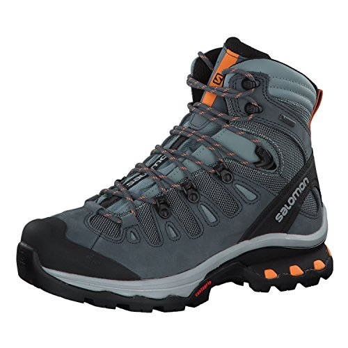 Salomon Women's Quest 4D 3 GTX Backpacking Boots, Lead/Stormy Weather/Bird Of Paradise, 10.5