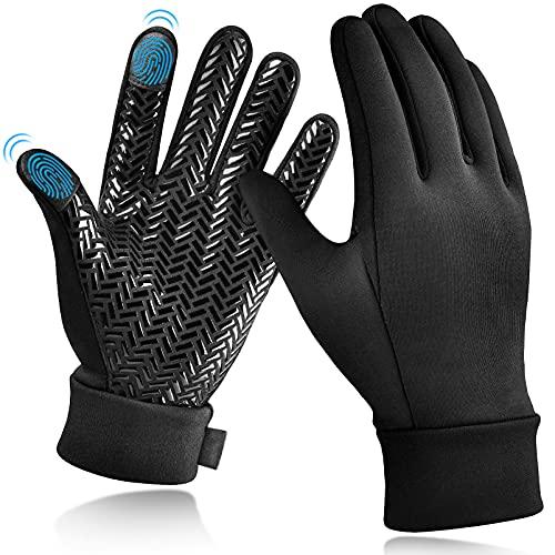 Kinder Winterhandschuhe Touchscreen Thermo Handschuhe - Kinderhandschuhe Outdoor Sport Fahrradhandschuhe Warme Laufhandschuhe Winddichte mit Anti-Rutsch für Junge Mädch Fahrrad Schwarz 6-8 jahre