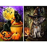 2 Pack 5D Full Drill Diamond Painting Kit, UNIME DIY Diamond Rhinestone Painting Kits for Adults and Beginner Embroidery Arts Craft Home Decor, 16 X 12 Inch (Halloween Pumpkin Cat)