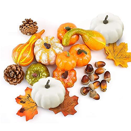 Souarts 52PCS Deko Kürbisse, Halloween Kürbis Deko, Künstliche Herbst Mini Kürbis Tannenzapfen Blätter Halloween Deko Kit Für Halloween Thanksgiving