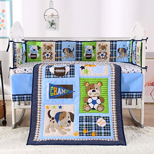 Wowelife Nursery Set Sports 7 Piece Blue Baseball Dog and Bear Crib Bedding Sets for Boys with 4 Bumpers Baby Boy Sports Bedding