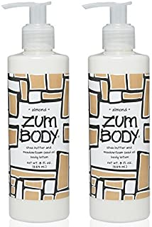 Zum Almond Body Lotion (Pack of 2) with Dandelion, Red Clover, Meadowfoam Seed Oil, Shea Butter, Aloe, Jojoba Oil, Sunflower Oil, Carrot Extract, Hibiscus Flower, Sweet Almond and Avocado, 8 oz