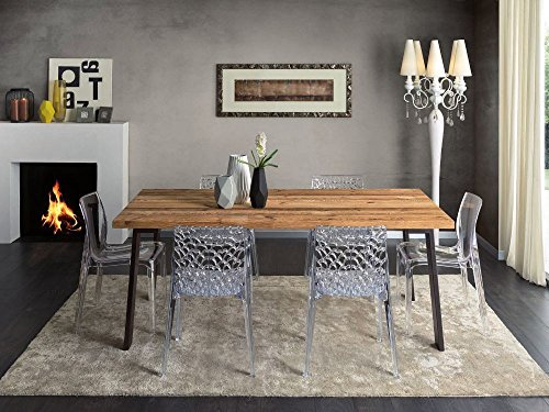Table rectangulaire pour séjour, cuisine, bois massif, conifère, ciré, pieds en fer