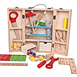 ZKMESI Kids Wooden Toys 43 PCS Toddler Tool Set Pretend Play Construction Learning Kit Boys Gift DIY Education Toys for Kids