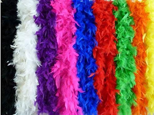Federboa einfarbig Federdichten wählbar Länge ca. 1,80m Federstola Federschal Kostüm Karneval 20er Jahre Charleston Burlesque kuschelig(Schwarz)