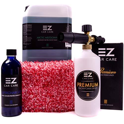 EZ Car Care Snow Foam Lance Gun Kit + 5L Arctic Meltdown Snow Foam With SuperCharged Shampoo and Microfibre Wash...