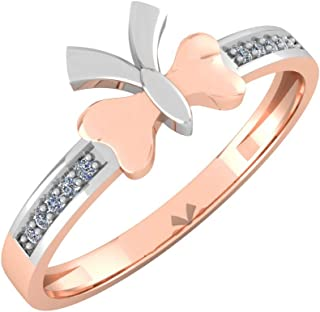 Perrian 18K Multi-Toned White Gold & Rose Gold 0.04 Carat Round (SI2 Clarity, GH Color) Diamond Ring for Women