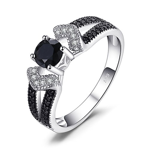 JewelryPalace Elegantes 0,8ct Echtes Schwarzes Spinell Statement Ring 930 Sterling Silber