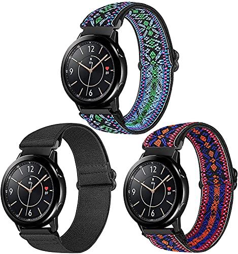 Correa de reloj de nailon elástica compatible con Samsung Galaxy Active 2/Gear Sport/Amazfit/Garmin 20mm Smart Watch Correa de repuesto para mujeres y niñas (2 unidades)