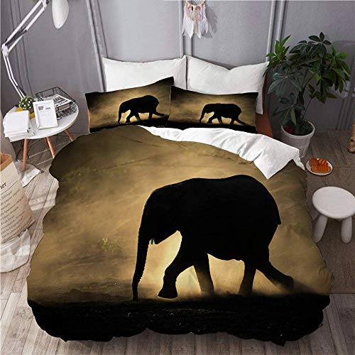 Yaoni Duvet Cover Elephant Dust Africa Animals Wildlife Wild Safari Savannah River Bed Sand Smoke Haze Animal Hotel Dorm Decorative 3pcs Bedding Set Matching 2 Pillow Shams