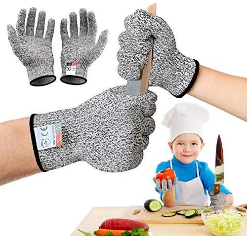 GUBOOM Schnitzhandschuh Kinder, Schnittfeste Handschuhe Kinder Arbeitshandschuhe, Stufe 5 Schutz und EN 388 Zertifiziert für Schnitzmesser, Schnittsichere Geeignet für 8-12 Jährige