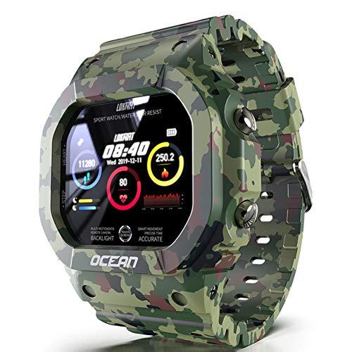Reloj digital para deportes al aire libre, multifunción, cuadrado, militar, inteligente, resistente al agua, monitor de ritmo cardíaco / sueño, podómetro calorías reloj Bluetooth,Camouflage green