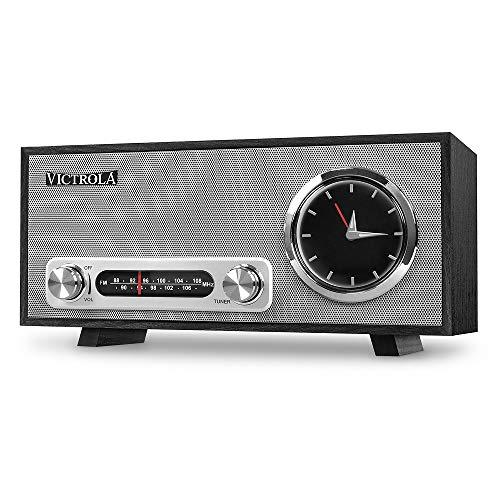 Victrola Broadway Bluetooth Radio reloj de alarma analogo Estéreo - Negro