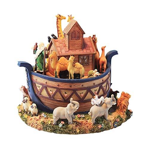 Hong Yi Fei-Shop Caja Musical Animal Noah's Ark Modelo Caja de música giratoria Caja de música de Resina de Regalo Creativo Caja de música