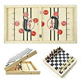 Fast Sling Puck Game, Wooden Chesst Set, 2 in 1 Foldable Desktop...