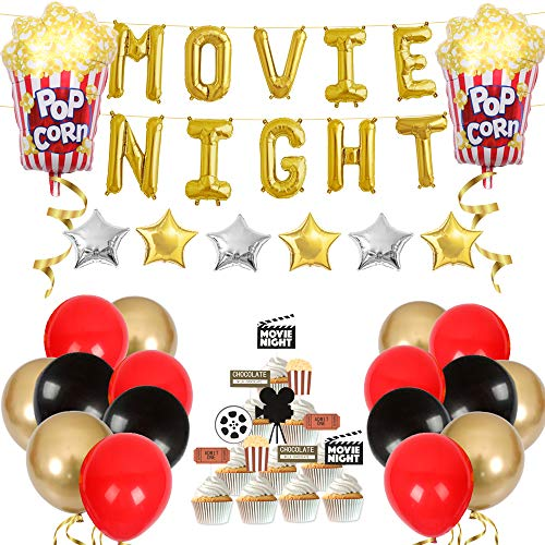 Movie Night Themed Party Decorations Hollywood Red Carpet Party Supplies Cupcake Toppers Popcorn Foil Balloons for Oscar Party Event Awards Night Ceremony