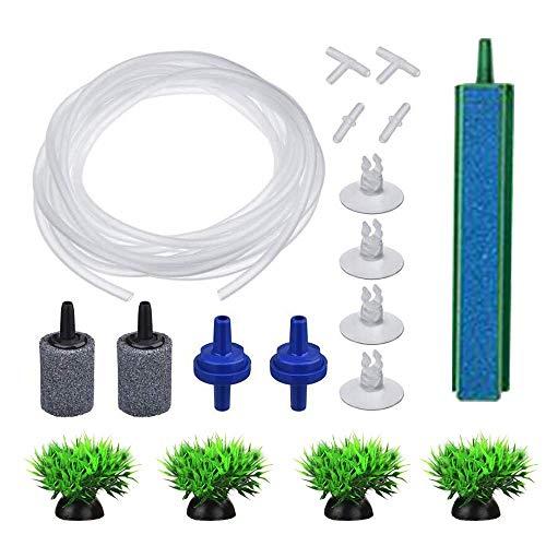 エアストーン/アクアリウムエアポンプアクセサリーセット/エアチューブ/フィッシュタンクエアバブラーストーン/エアストン/ミニ人工植物/水族館チューブチェックバルブ (Blue Set(200cm))