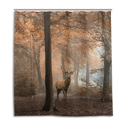 CPYang Duschvorhänge Herbst Wald Baum Hirsch Wasserdicht Schimmelwiderstandsfähig Badvorhang Badezimmer Home Decor 168 x 182 cm mit 12 Haken