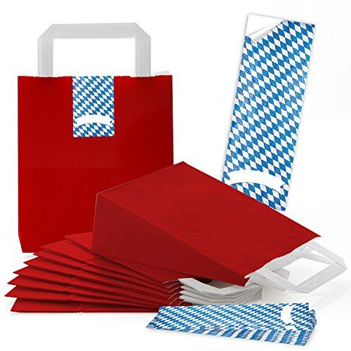 25 rote kleine Papiertüten Papiertasche Geschenktasche 18 x 8 x 22 cm + 25 Aufkleber Bayern bayerisch blau weiß kariert Geschenktüte Geschenkbeutel Verpackung Oktoberfest Souvenir