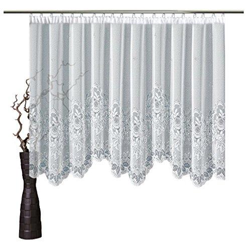 Bogenstore Gina 100x400 cm H/B | Farbe: Weiß | Grafisch | Store Vorhang Fenstergardine
