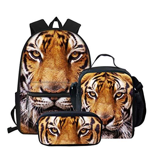 Cool Tiger Print Boys Girls School Backpack Shoulder Bag,Lunchbox,Pencil Bag 3 Pieces Set