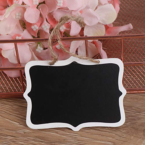 Xgood 40 Pieces Mini Chalkboards Tags Erasable Mini Blackboard Wooden Hanging Chalkboard Double Sided Chalkboard Signs Hanging Chalkboard Labels with Hanging String for Message Board Signs Kids DIY Photo #8