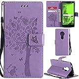 Ooboom® Motorola Moto E5 Hülle Katze Baum Muster Flip PU Leder Schutzhülle Handy Tasche Hülle Cover Standfunktion mit Kartenfächer für Motorola Moto E5 - Lavendel