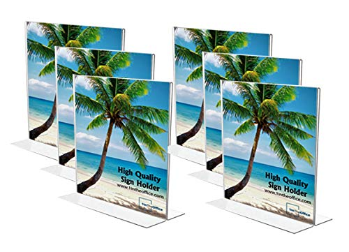"""1InTheOffice Acrylic Vertical Stand-Up Sign Holder 8.5 x 11""""6 Pack"""""""