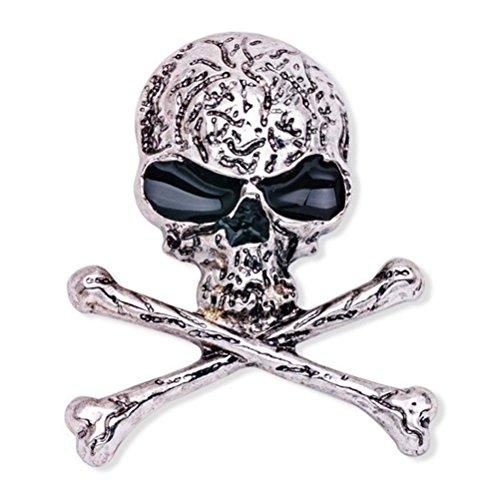 Broche de huesos del cráneo Broche de esqueleto gótico punk con estilo para el traje de fiesta de noche (X1510, plata)