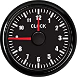 Clock Gauge 0-12 Hours Clock Hour Meters 52MM Clock Meter Guage Instrument with Red Backlight for Car Boat RV Truck 9-32V