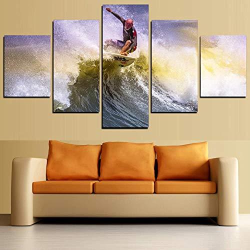 Kai&Guo Moderne Leinwand Wohnzimmer Bilder Home Decor 5 Panel Mann In Surfen Malerei Wandkunst Modulare Poster Rahmen HD Gedruckt, Rahmen, 40x60 40x80 40x100 cm