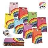 Cotek 40pcs Papel Regalo Bolsas con Pegatinas, Fiesta de Cumpleaños Favores Bolsas Bolsas Dulces para Niña Baby Shower Suministros para Fiestas de Niños