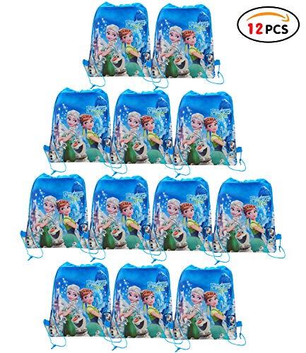 Qemsele Bolsa Mochilas Bolsas de cumpleaños 12Pcs Bolsas de Fiesta cordón dibujos animados mochila bolsas para cumpleaños niños y adultos la fiesta favorece la bolsa, rellenos bolsas fiesta (Frozen 8)