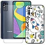 szjckj Funda para Samsung Galaxy F52 5G (6,6 Pulgadas) + Anti-caída Protector de Pantalla, Case Cover Carcasa Bumper Clear TPU Silicone Cristal Vidrio Templado - LLM36