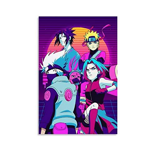wangzhe Poster rétro Naruto Team Seven - Impression sur toile - Décoration murale - 60 x 90 cm