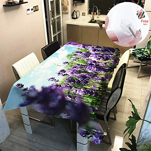 Odot 3D Tischtuch Pflegeleicht, Polyester wasserdichte Rechteckige Tischdecke Abwaschbar Pflegeleicht Eckig Halloween Schmutzabweisend Lotuseffekt Effekt (140x180cm,Blume)