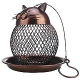 Galapara Mangeoire pour Oiseaux, Forme de Chat Vintage décoration extérieure Fait Main décoration de Jardin de Villa, métal décoration à Suspendre ou à Monter sur perchoir