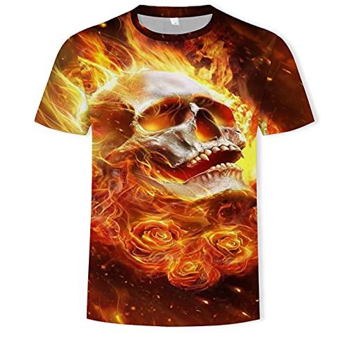 Camiseta de Calavera Traje de Padre e Hijo de Manga Corta con Calavera M
