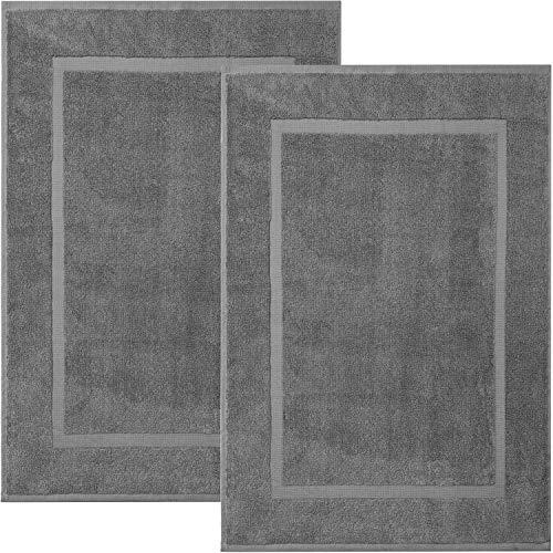 Alibi Towel Bath Mats | 2 Pack | Hotel & Spa Shower Step Out Floor Towels [NOT a Bathroom Rug] - Grey 20 X 30