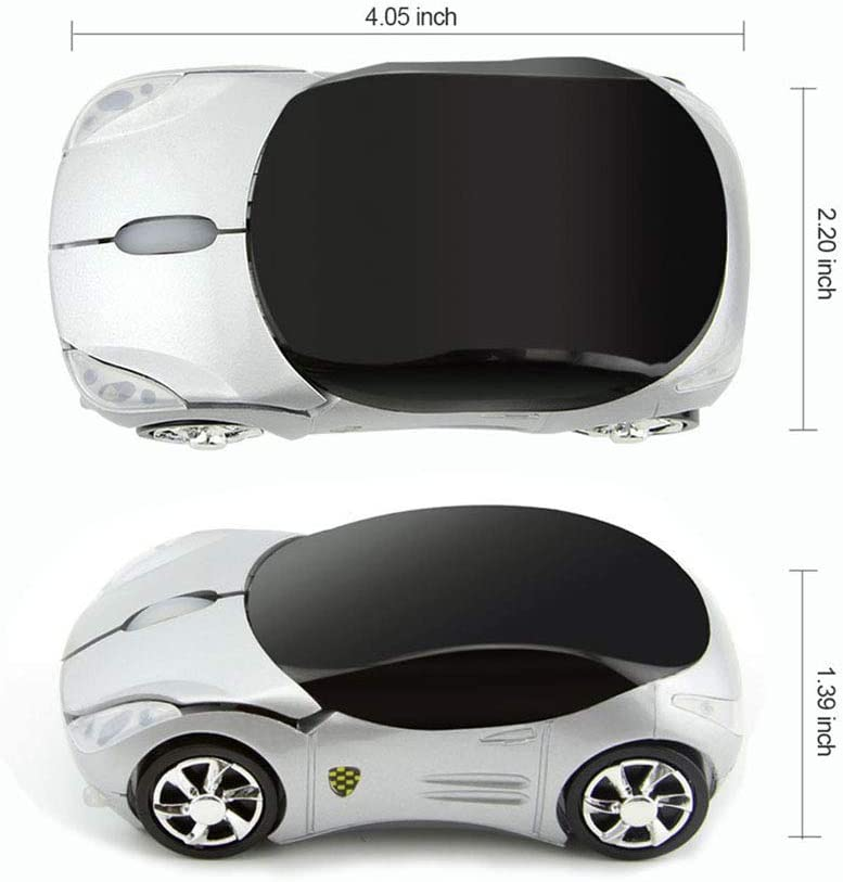 Colorful 3D Sport Car Shape Mouse 2.4GHz Wireless Mouse 1600DPI 3 Buttons Optical Ergonomic Gaming Mice with USB Receiver for PC Laptop Computer Yellow