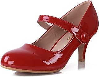 red low block heel shoes