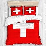 Marutuki Bettwäsche-Set,Mikrofaser,Schweizer Flagge der Schweiz Genaue Maße Proportionen und Farben überqueren,1 Bettbezug 220x240 + 2 Kopfkissenbezug