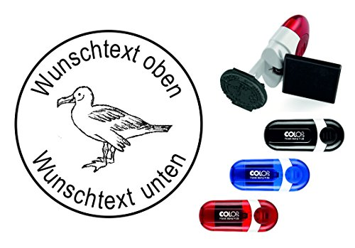 Geocachingstempel Vogel « ALBATROS » met persoonlijke cachernaam/nikkelnaam ronde stempel Geocaching Pocketstempel