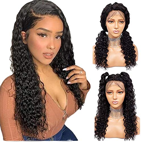 Long 360 lace Frontal Wigs Pre Plucked with Baby Hair 150% Density 24 Inch Human Hair Full End Wigs Natural Color #1B Lace Front Wig for Women