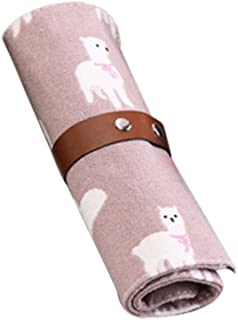 jingyuu bolsa de bolígrafo–Estuche (lienzo herramientas de cosmético accesorios de oficina papelería Fournitures scolaires rosa