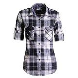 MGWDT Camisa de franela de manga larga enrollable a cuadros escoceses de cuadros escoceses - Negro - XXX-Large
