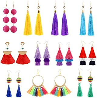 11 Pairs Colorful Long Layered Thread Ball Dangle...