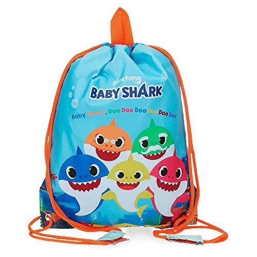 Baby Shark Shark Family Bolsa de Merienda Azul 27x34 cms Microfibra