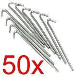 (PACK OF 50) - LIVIVO Heavy Duty Galvanised For Long Life Steel Tent Pegs Metal...