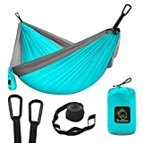 Grassman Camping Hammock Double & Single Portable Hammock with Tree Straps, Lightweight Nylon
